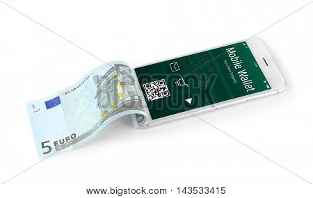 Smartphone with mobile wallet application on screen. E-commerce concept.