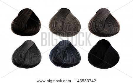 Hair Palette of different colors. Tints set. Isolated on a white background