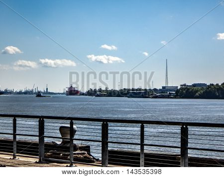 shipping in New Orleans and view of the Mississippi River