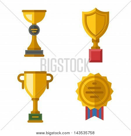 Vector trophy champion cup flat icon. Champion cup winner trophy award and victory prize champion cup. Champion cup sport success and best win champion leadership award competition.