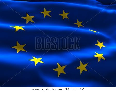 European Union Flag Waving in the Wind - 3d illustration