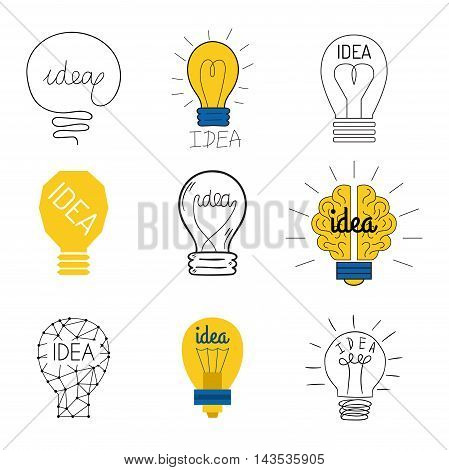 Drawing idea light bulb concept creative design. Vector Idea lamp innovation electric creativity inspiration concept. Bright idea lamp icon symbol solution lightbulb. Creative idea concept