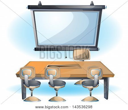 Cartoon Vector Illustration Interior Office Slide Object