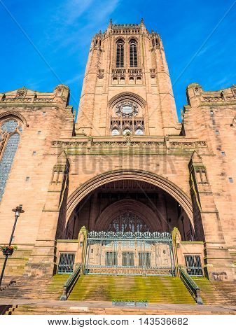 High dynamic range (HDR) Liverpool Cathedral aka Cathedral Church of Christ or Cathedral Church of the Risen Christ on St James Mount in Liverpool UK