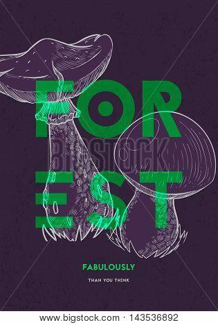 Poster design template. Forest mushrooms. Vector illustration
