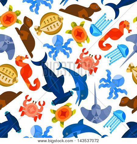 Ocean and sea animals and fishes seamless background. Wallpaper with vector pattern of stylized mosaic icons octopus, crab, jellyfish, hammer fish, seahorse, turtle, seal, dolphin, stingray, flounder