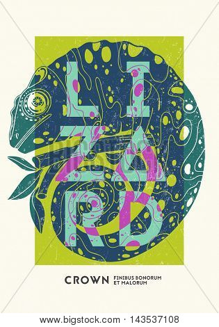 Poster design template with chameleon. Vector illustration