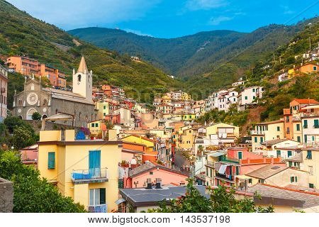 Panoramic view of Riomaggiore fishing village in Five lands, Cinque Terre National Park, Liguria, Italy.