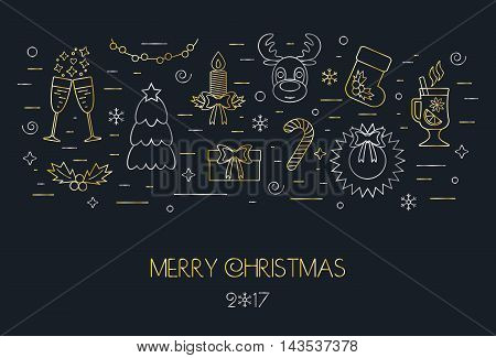 Black card for the Christmas and New Year. Decorated Christmas gold and silver elements and attributes in a thin line for prints. Flat design. Vector illustration