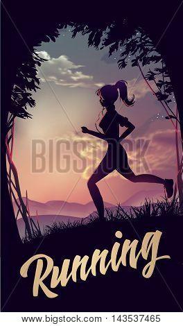 Sporty woman jogging at park in sunrise light. Vector illustration