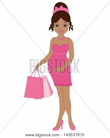Vector African American beautiful pregnant woman with shopping bags in pink dress