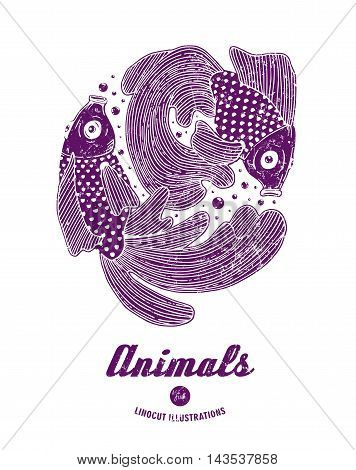 Vector illustration of linocut fishes isolated on white background