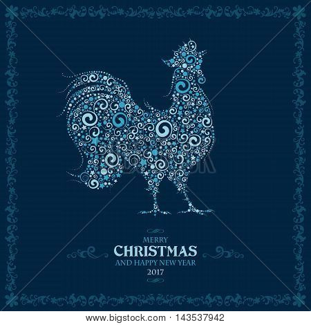 Happy New year greeting card with stylized curly Cockerel, symbol of year 2017