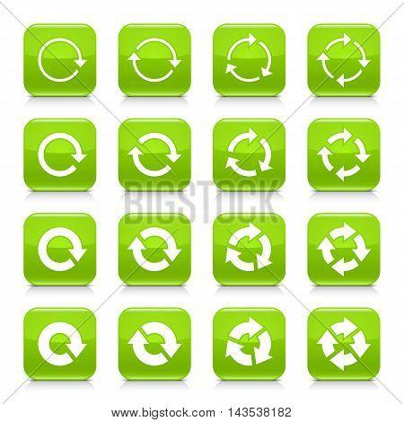 Green Arrow Repeat Sign Square Icon Web Button