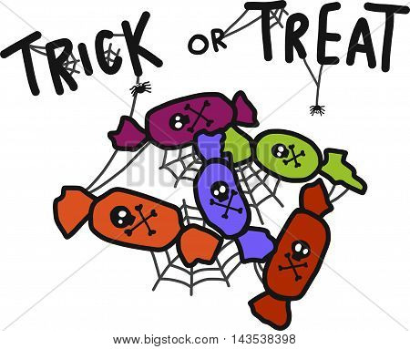 Trick or treat Halloween candy cartoon illustration
