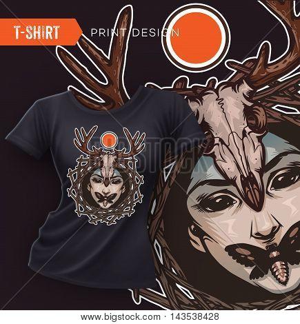 Swag t-shirt design with evil girl face, death's-head moths and deer skull. Vector illustration