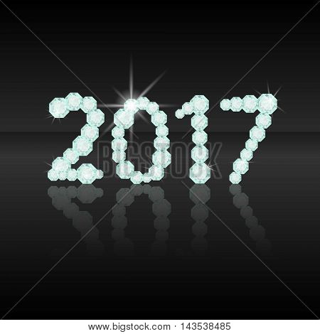 Text from diamonds 2017.New Year. Numbers number date
