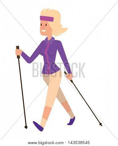 Nordic woman walking sport vector character