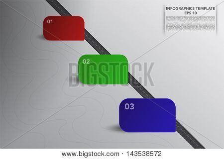 Contemporary three steps timeline infographics with rectangle 3D boxes and road on grey gradient background. Infographic with 3 square boxes representing workflow process possibilities.