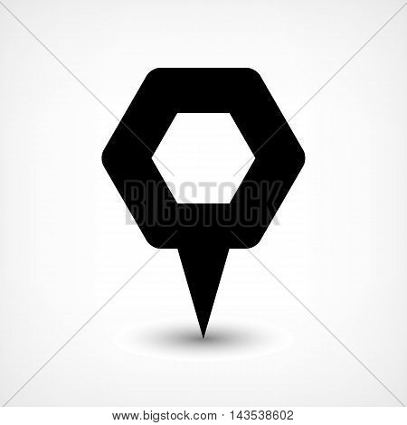 Map pin location sign rounded hexagon icon in flat style. Simple black shapes with gray gradient oval shadow on white background. This web design element vector illustration save in 8 eps