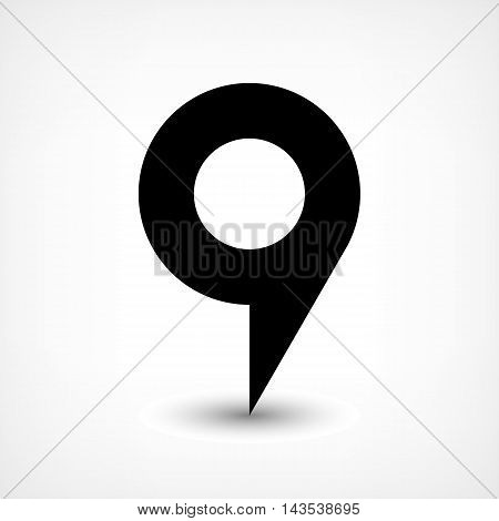 Map pin location sign circle icon in flat style. Simple black shapes with gray gradient oval shadow on white background. This web design element vector illustration save in 8 eps