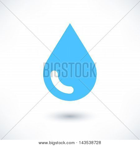 Blue water drop icon with gray shadow on white background. Simple solid plain flat style. Vector illustration graphic web design element in 8 eps
