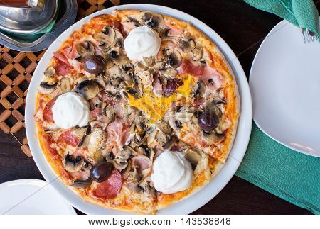 Round Pizza At The Restaurant