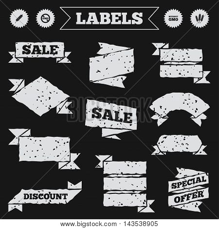 Stickers, tags and banners with grunge. Agricultural icons. Gluten free or No gluten signs. Without Genetically modified food symbols. Sale or discount labels. Vector