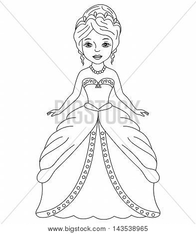Vector black and white princess with tiara
