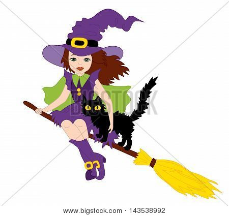 Vector witch with cat sitting on broomstick