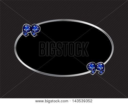 Sapphire Stone Quotes on Silver Metal Speech Bubble over Pinstripe Background