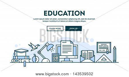 Education concept header flat design thin line style vector illustration