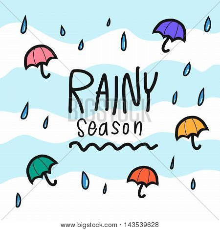 Rainy season word and colorful umbrella illustration