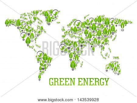 Green energy world map symbol of energy saving light bulbs with leaves and sprouts of green plants composing a silhouette of the surface of the Earth. Ecology and energy saving themes design
