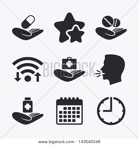 Helping hands icons. Medical health insurance symbols. Drugs pills bottle signs. Medicine tablets. Wifi internet, favorite stars, calendar and clock. Talking head. Vector