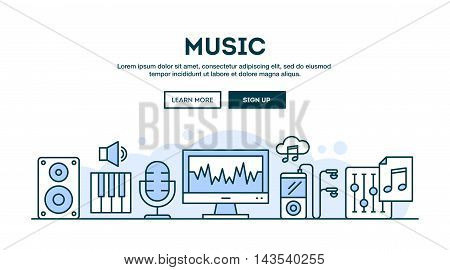 Music production concept header flat design thin line style vector illustration