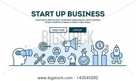 Start up business concept header flat design thin line style vector illustration