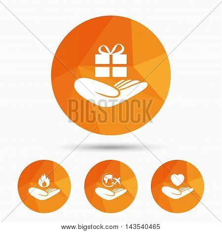 Helping hands icons. Health and travel trip insurance symbols. Gift present box sign. Fire protection. Triangular low poly buttons with shadow. Vector