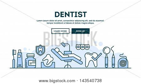 Dentist concept header flat design thin line style vector illustration