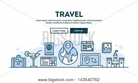Travel concept header flat design thin line style vector illustration
