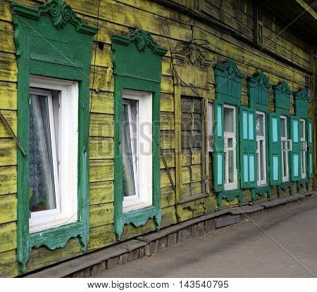 Historical wooden house in Irkutsk, Russian Federation