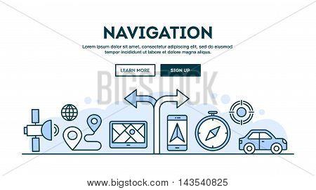 Navigation concept header flat design thin line style vector illustration