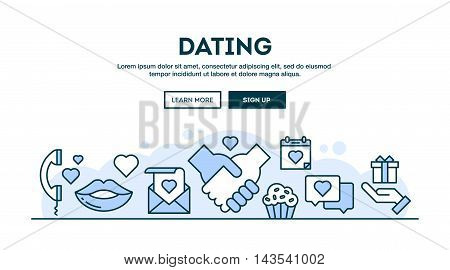 Dating concept header flat design thin line style vector illustration