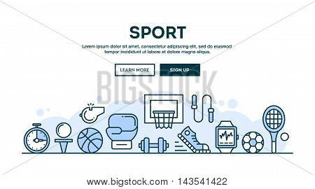 Sport recreation active lifestyle concept header flat design thin line style vector illustration