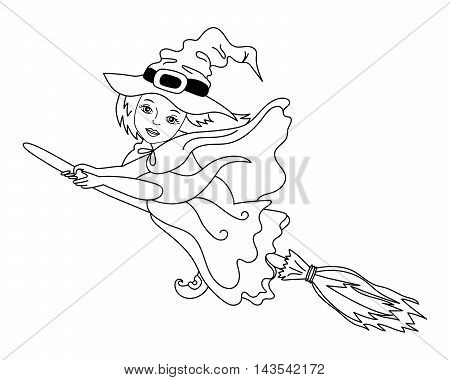 Vector black and white flying witch with broomstick