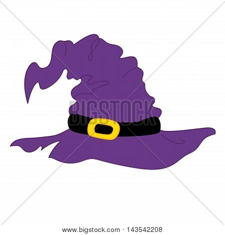 Vector witch's magic purple and yellow Halloween hat