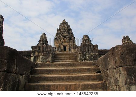 Ruins of a sandstone temple mountain called Bakong.   Siem Reap, Cambodia