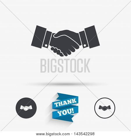 Handshake sign icon. Successful business symbol. Flat icons. Buttons with icons. Thank you ribbon. Vector