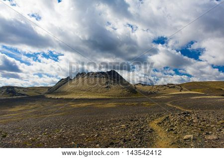 Lakagigar is a row of appox. 130 volcanic craters on the Southern Iceland. The biggest one is the volcano Laki the eruption of which was one of the greatest disasters in the 18th century.