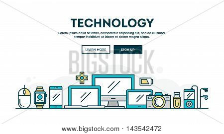 Technology colorful concept header flat design thin line style vector illustration